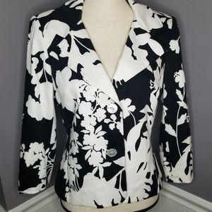 Talbots | Black & White Floral Blazer